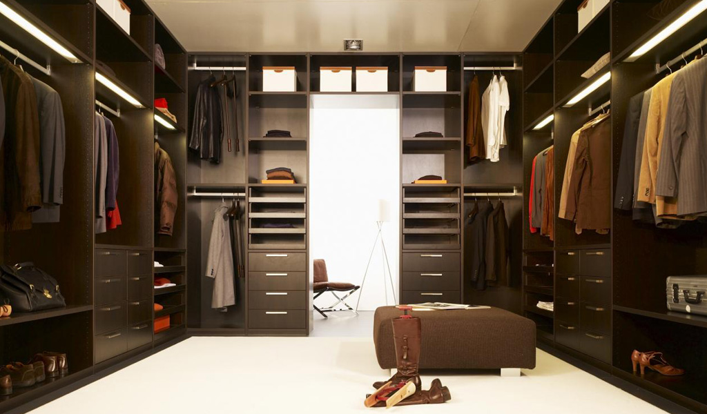 Brown Walk In Wardrobe Design