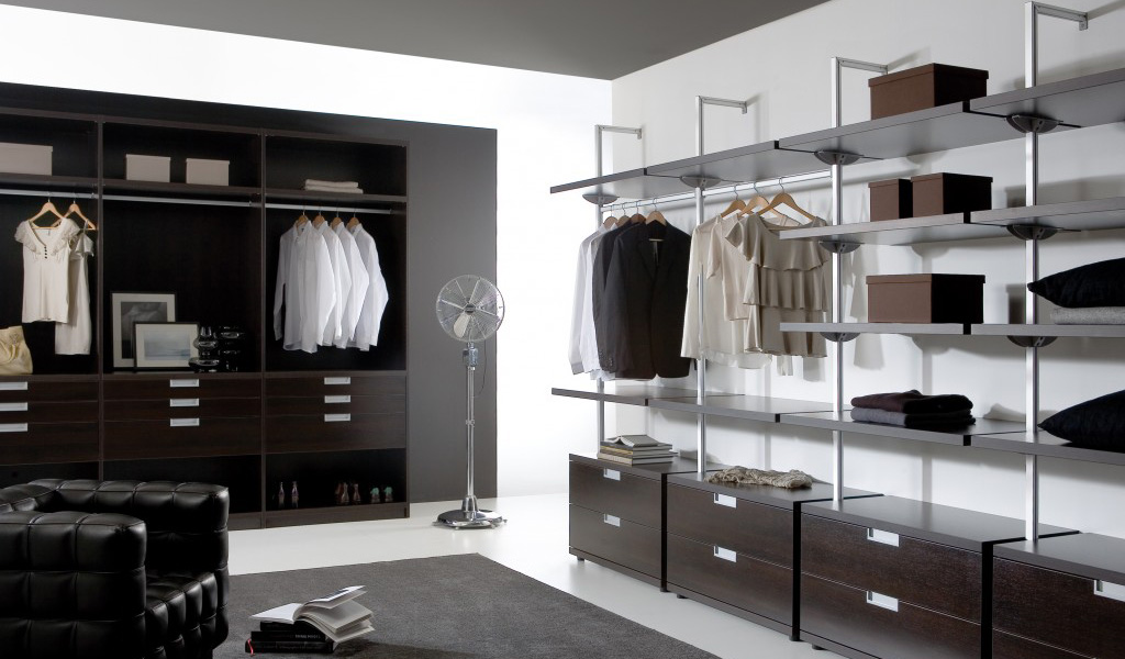 Dark Modern Walk In Wardrobe